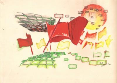1977, A4, tecn. mista s papel