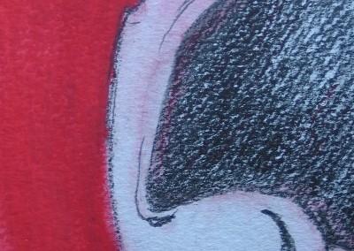 Vermelho e Negro, desenho, tecn. mista s papel, A4